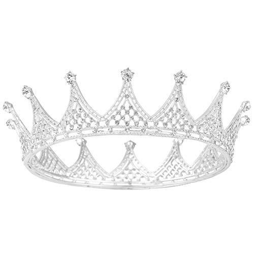 Coucoland Hochzeit Braut Tiara Prinzessin Kristall Diadem Vintage Königin Krone Geburtstagskrone Damen Festzug Fasching Kostüm Haare Accessoires (1-Silbern)