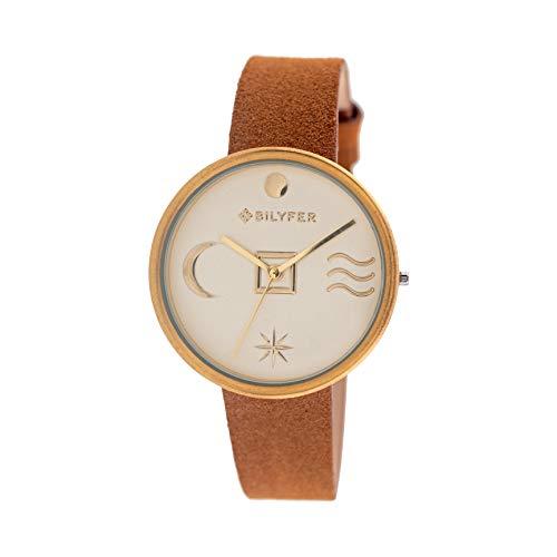 Reloj Bilyfer para Mujer con Correa en Marron y Pantalla en Dorado 1F661-D