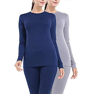 MANCYFIT Thermal Underwear for Women Long Johns Set Fleece Lined Ultra Soft 2 Pack Blue/Light Gray Large