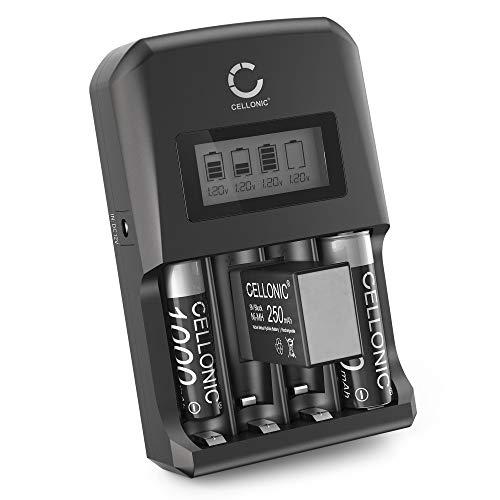 CELLONIC® Batterieladegerät AAA AA 9V Schnellladegerät für 4 Batterien 4-Fach Ladegerät für Batterien AA AAA, Einzelschachtladung Akku Batterie Ladegerät mit Anzeige Display LR03 LR6 Batterieauflader