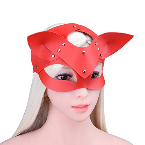 ZZDD FlExyh Einstellbare Größe Leder Gesichtsmasken Lovely Visor Female Performing Eyepatch Tshirt Sunglasses Raincoat (Color : Red)