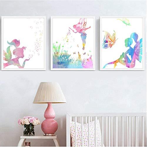 Ecyanlv Watercolor Fairy Wall Art Canvas Prints Posters Garden Butterflies Dragon Flies Flower Bubbles Painting Girls Room Baby Girl Nursery Decor 40x60cmx3 Unframed