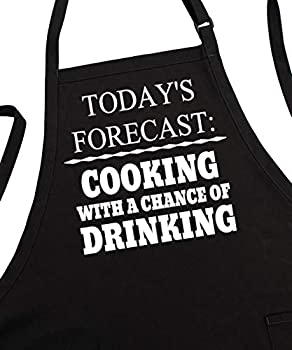 Men s BBQ Aprons Cooking with A Chance of Drinking Fully Adjustable Two Pockets Extra Long Ties