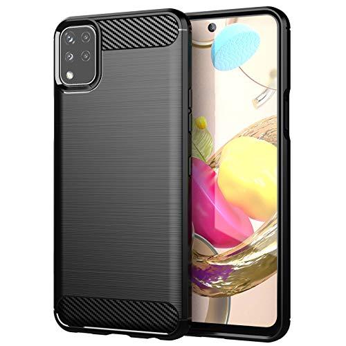 betterfon | LG K42 Hülle Carbon Erscheinungsbild Outdoor Stoßfeste Handy Tasche Hybrid Hülle Schutzhülle TPU Silikon Cover Bumper für LG K42 Schwarz