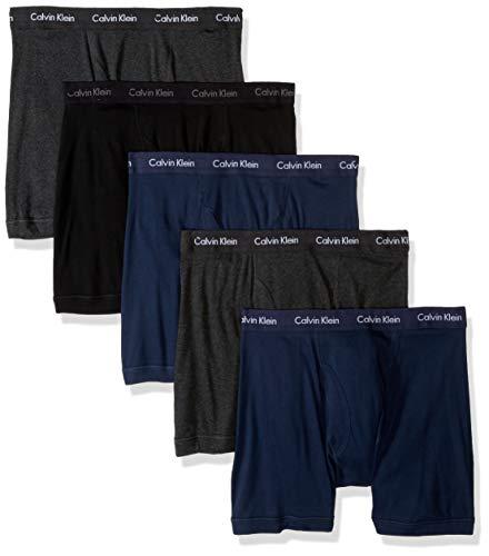 Calvin Klein Men's Cotton Classics Multipack Boxer Briefs, black/Charcoal Heather/Blue Shadow (5 Pack), L