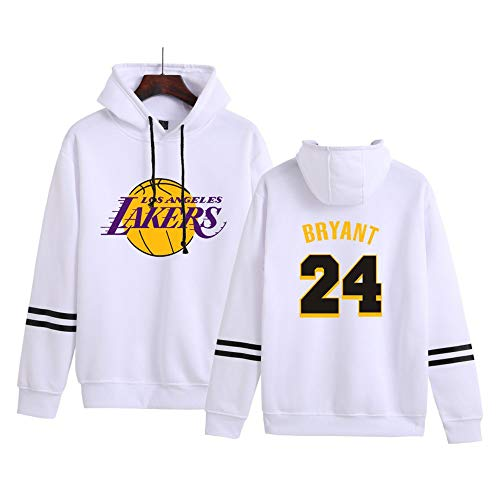Los Angeles Lakers Kobe Bryant # 24 Felpa con Cappuccio da Uomo, NBA Basketball Pullover con Cappuccio Manica Lunga Maglione Sportivo Jersey,Bianca,L