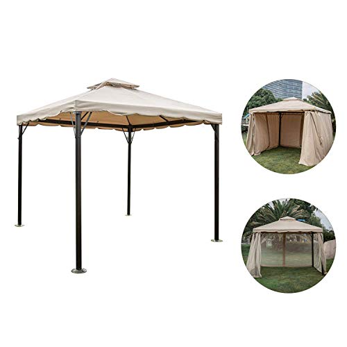 Kinbor 10' x 10' Outdoor Gazebo with Vented Mosquito Netting...