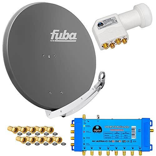 FUBA 8 Teilnehmer Digital SAT Anlage DAA850A + Profi LNB 0,1dB Full HDTV 4K + PMSE Multischalter 5/8 + 24 Vergoldete F-Stecker Gratis dazu