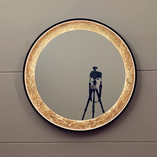 Espejo de Maquillaje LED Fuente de luz de 3 Colores Espejo de baño Inteligente Colgante de Pared Espejo de baño de Aluminio Espejo Decorativo Redondo con diámetro de lámpara 762MM