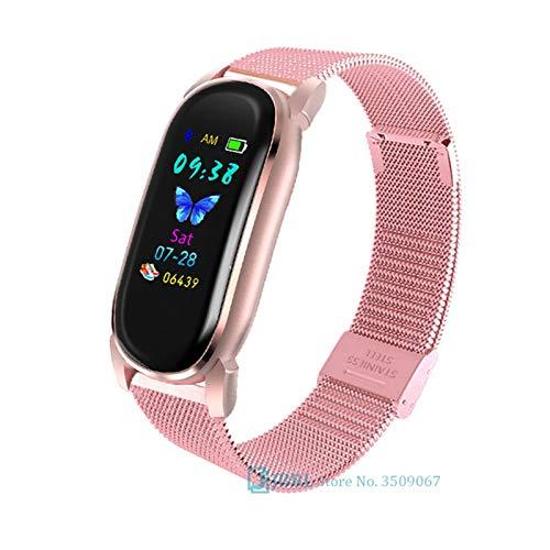 YNLRY Reloj inteligente para hombre y mujer, reloj inteligente electrónico, para Android iOS, rastreador de fitness, bonito reloj inteligente con Bluetooth (color acero dorado)