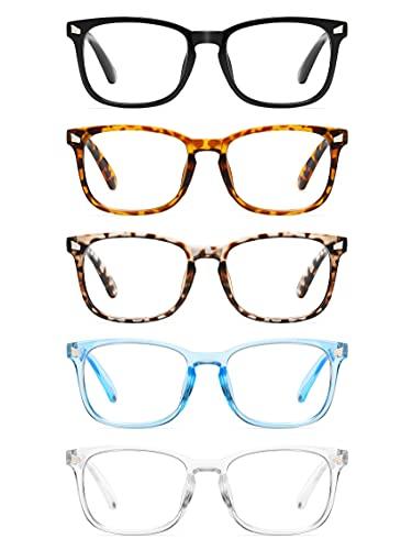 CCVOO 5 Pack Reading Glasses Blue Light Blocking, Filter UV Ray/Glare Computer Readers Fashion Nerd Eyeglasses Women/MenC1 Mix, 2.0)