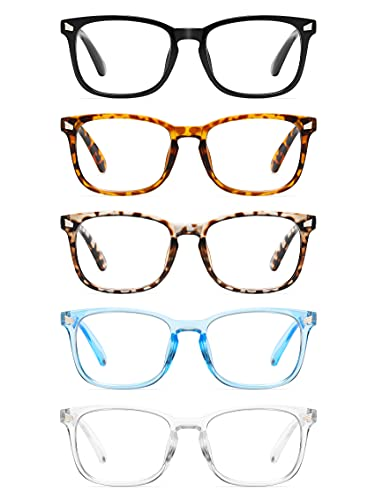 CCVOO 5 Pack Reading Glasses Blue Light Blocking, Filter UV Ray/Glare Computer Readers Fashion Nerd...