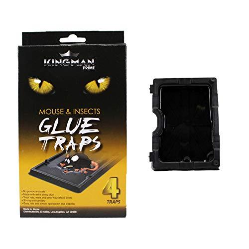 KINGMAN PRIME Small Mouse Trap Glue Trap/Board (4 Traps) Rodent Trap Safe Easy Non-Toxic
