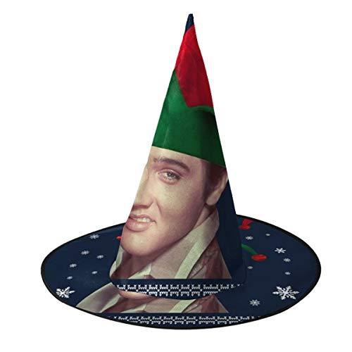 OJIPASD Elvish Presley Elvis Weihnachten Strick Hexe Hut Halloween Unisex Kostüm für Urlaub Halloween Weihnachten Karneval Party