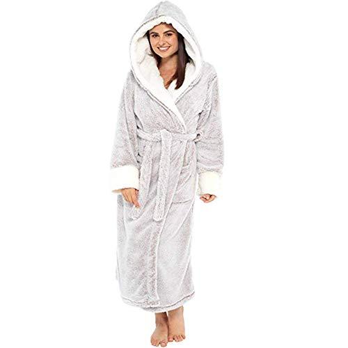 LLSS Albornoz Largo con Cremallera y Capucha para Mujer Batas de Lana de Franela Abrigo de Invierno cálido Camisón Pijamas Ropa de Dormir cálida Bolsillo Largo