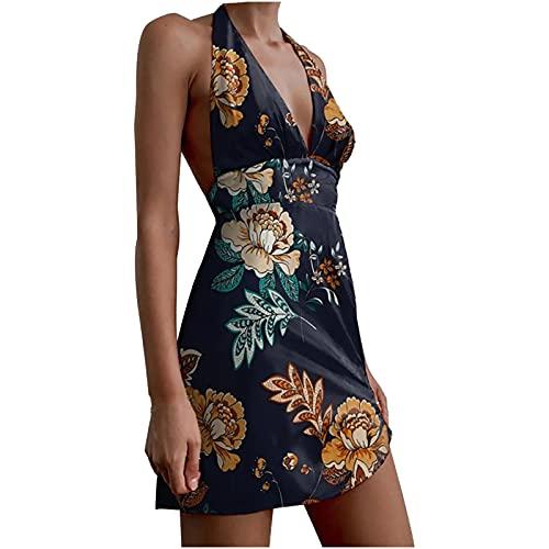 Vestido de verano para mujer, vestido de verano, sexy, atado al cuello, minivestido corto, vestido de playa, fiesta, informal, línea A, color negro, S