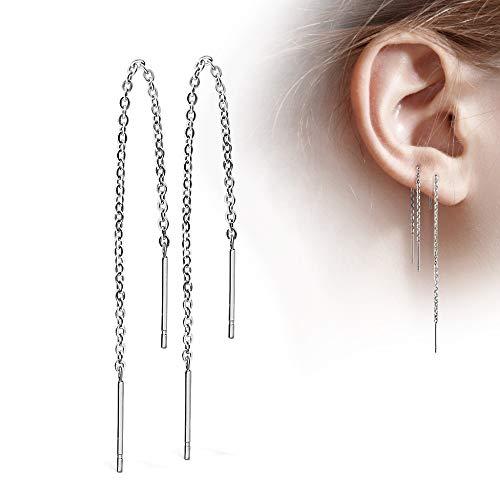 Treuheld® | Silberne Ohrstecker mit Kette - Edelstahl Ohrringe in Silber mit Stab - glänzende Ohrstecker für Damen und Kinder - sehr elegant - ohne Verschluss - Ohrring