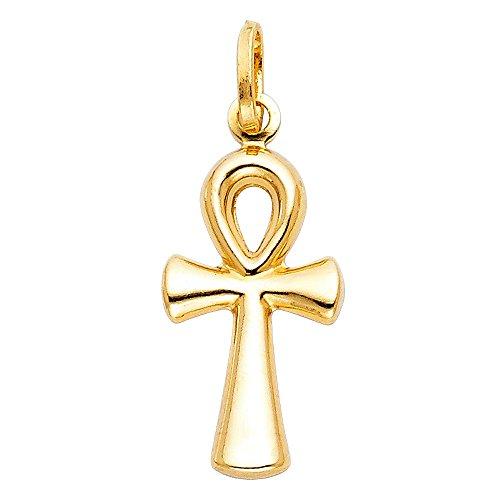 Ioka - 14K Yellow Gold Egyptian Ankh Cross Religious Charm Medium Pendant For Necklace or Chain