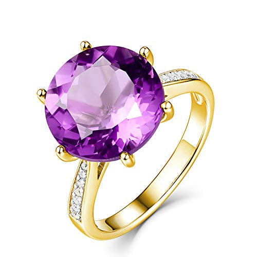 Socoz Mujer Unisex oro amarillo 18 quilates (750) redonda Purple Amethyst