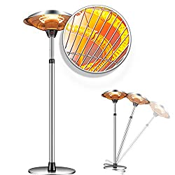 Raoccuy Infrared Patio Heater Electric Outdoor - Electric Outdoor Patio Heater 1500W 3 Power Modes Indoor/Outdoor Heater Quiet Water-Resistant Tip-Over Shut Off Home Freestanding Space Heater
