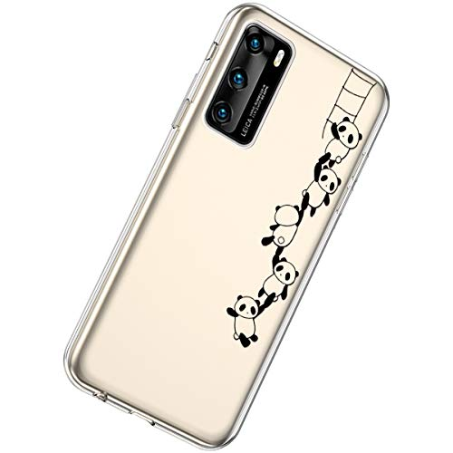 Herbests Kompatibel mit Huawei P40 Hülle Silikon Weich TPU Handyhülle Durchsichtige Schutzhülle Niedlich Muster Transparent Ultradünn Kristall Klar Handyhülle,Panda String