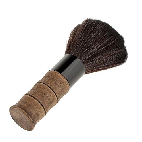 Sharplace Balai à Cou Brosse à Cheveux en Poils Nylon Dense et Doux pour Salon de Coiffure à Nettoyage Coupe de Cheveux avec Poignée en Bois de Bambou 11x3.5 cm - Noir
