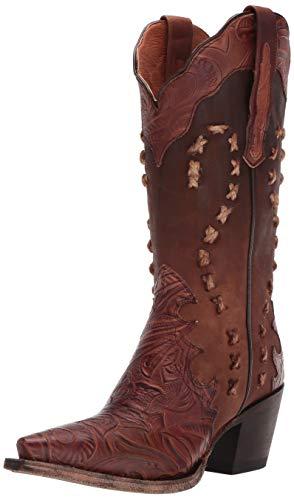 Dan Post Womens Tan Cowboy Boots Leather Snip Toe 6 M