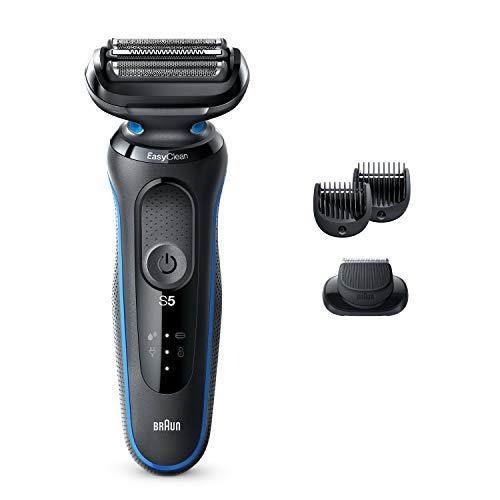 Braun Barbeador elétrico masculino Série 5 5020s com aparador de barba, recarregável, molhado e seco com EasyClean