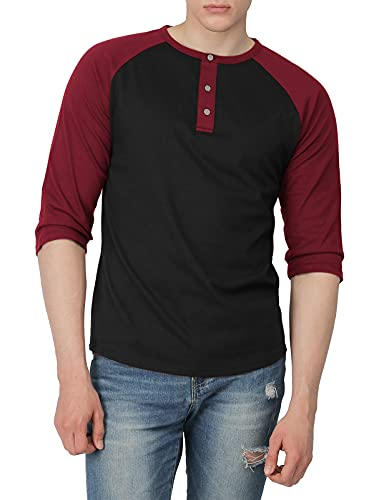 H2H Mens Casual Slim Fit Raglan 3/4 Sleeve Henley T-Shirts BLACKWINE US S/Asia M (CMTTS0174)