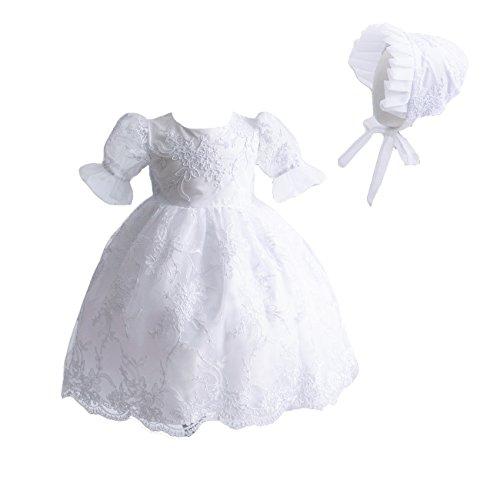 Cinda Robe de baptême en Dentelle bébé et Bonnet Blanc 6-12 Mois
