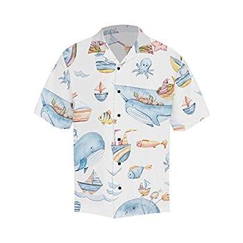 InterestPrint Men s Casual Button Down Short Sleeve Cartoon Whales Ship Hawaiian Shirt XL