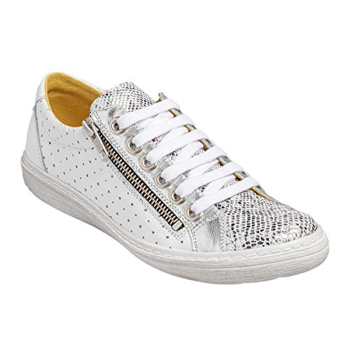 Chacal Shoes - Zapatos Casual de Mujer - máximo Confort - Zapatos Casual de Cuero 100% - Fácil Calzado - Color Plata en Talla EU 40