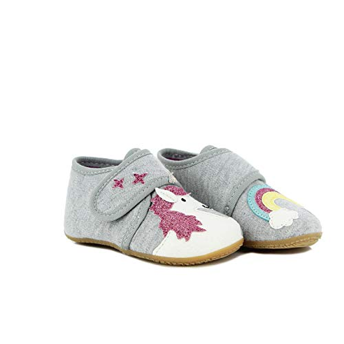 Living Kitzbühel Unisex Baby Babyklettschuh Einhorn & Regenbogen Hausschuhe, hellgrau, 21 EU