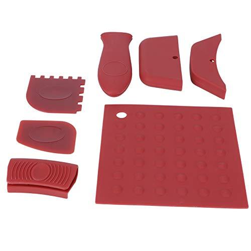 Deryang Cubierta de la manija de la Cacerola, Accesorios de los Utensilios de Cocina 7Pcs / Set Raspador de la Cacerola de la Parrilla, portátil para el hogar(Red)