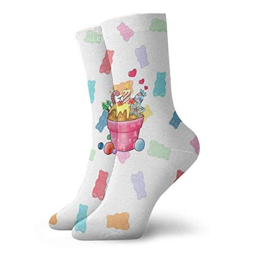 ASS Paquete de calcetines de vestir unisex Patrón de ositos de goma Repita Divertidos calcetines de poliéster
