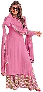 Asodariya Brothers Women Plazzo,Kurti With Duptta Crape Embroidered Work Plazzo Suit With Dupatta (Ab-21_Pink_Free Size)