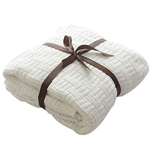 MYLUNE HOME 100% Baumwolle Stilvolle Strickdecke für Fernsehen oder Nap auf dem Stuhl, Sofa und Bet(180x200cm,White)