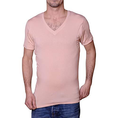 Camiseta interior antisudor para hombres, cuello en V, tono de piel, micromodal