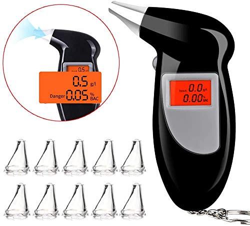 Faburo Etilometro Digitale, Professionale Alcool Test con Schermo LED Display, Alta Sensibilità Sensore Semiconduttore Alcool Tester con Bocchini 10 Pezzi, Nero(2 Batterie AAA Non Incluse)
