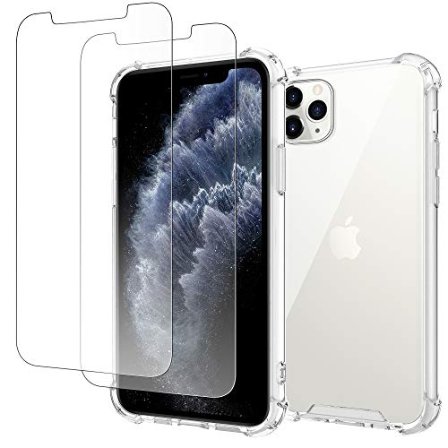 4youquality Case for iPhone 11 Pro Max with [2-Pack] Tempered Glass Screen Protector, Air Cushion Drop Protection, Shockproof Transparent Clear Bumper Phone Case Cover, Anti-Scratch