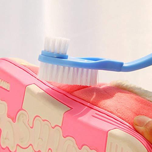 CKY Schuhbürste Doppelkopf Langer Kunststoffgriff Schuhe Waschbürste Reiniger Turnschuhe Schuhreinigung Waschen Toilettenspülbürsten, Blaue Farbe