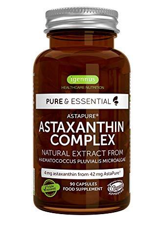 Pure & Essential Complejo de Astaxantina natural & sostenible, 42 mg de AstaPure, con luteína & zeaxantina, vegano, 90 cápsulas