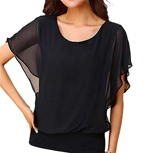 IHEHUA Einfarbig T-Shirts Damen Tank Top Chiffon Tee Spitzen Batwing Sexy Transparent Weste Rundhals Freizeit Elegante Blusen Tuniken Tops(A-Schwarz,L)