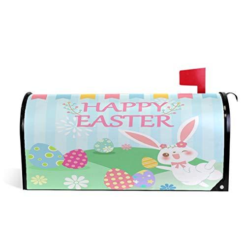 Wamika Happy Easter Bunny Eggs Housse de boîte aux Lettres magnétique pour boîte aux Lettres Motif œufs de Lapin de Pâques 64.7x52.8cm Multicolore