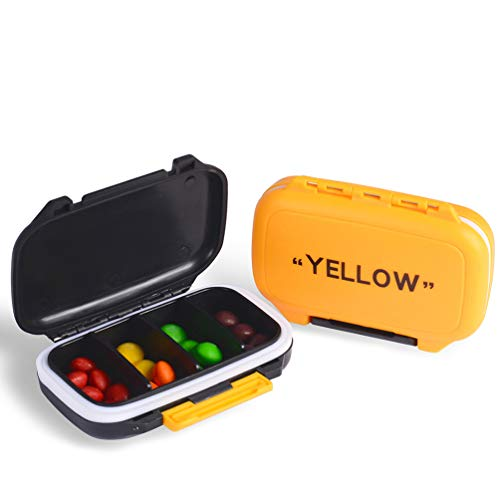 YNester 2 Pack Pill Cases, Fashion Pill Organizer Travel Pill Case Medical Pill Box Dispenser for Vitamins Supplements Medicine Box - 4 Removable Compartments (Yellow + Black)