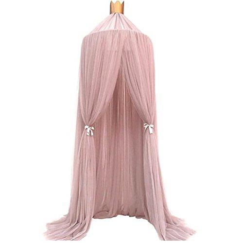Mosquitera para cama con diseño de canopy, para cuna de bebé, redonda, para colgar en la pared, mosquitera, decoración de dormitorio rosa rosa