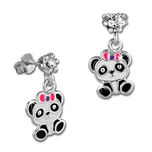 Orecchini per bambini in argento 925 con zirconi a forma di panda, colore rosa lilla SDO8164W
