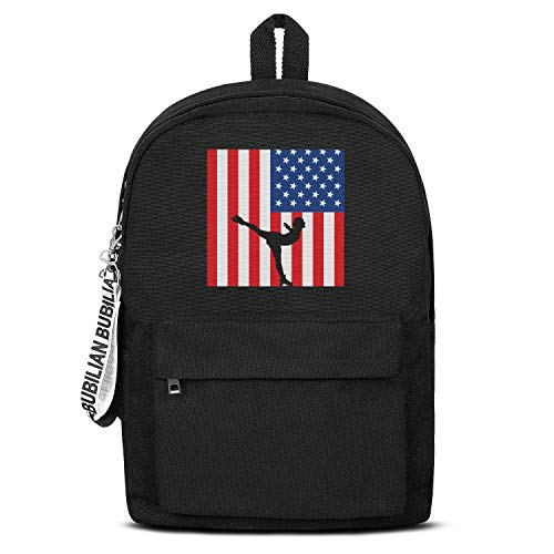 Us Flag Figure Skating Bookbags School Backpack Laptop Schoolbag for Teens Girls Boys High School