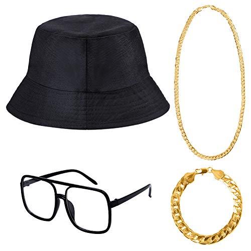 Tupa 4 Stück 80er/90er Jahre Hip Hop Kostüm Kit Halskette Armband Eimer Hut Sonnenbrille (Farbe 1)