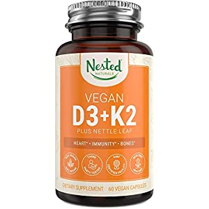 Vitamin D3+K2 Plus Nettle Leaf Supplement | 60 Vegan Capsules | 5000 IU Vitamin D-3 Made from Chickpeas, with Vitamin K-2 MK7 | Supports Strong Bone, Immune System & Healthy Heart | 100% Non-GMO